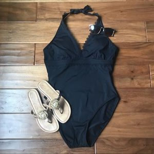 Anne Cole Black Eyelet Lace One Piece Swimsuit